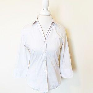 FoxCroft white 3/4 sleeve button down blouse SZ 6